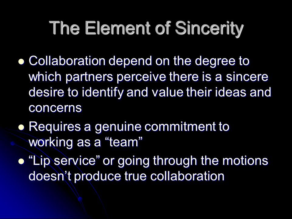 The Element of Sincerity
