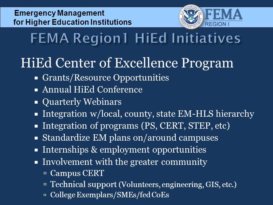 FEMA Region1 HiEd Initiatives