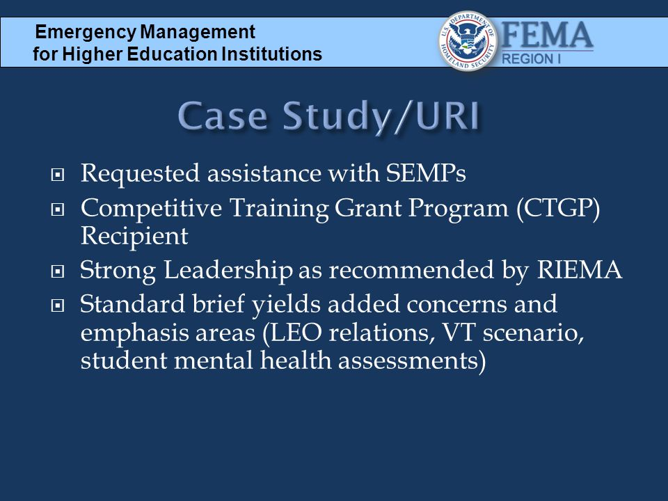 Case Study/URI Requested assistance with SEMPs