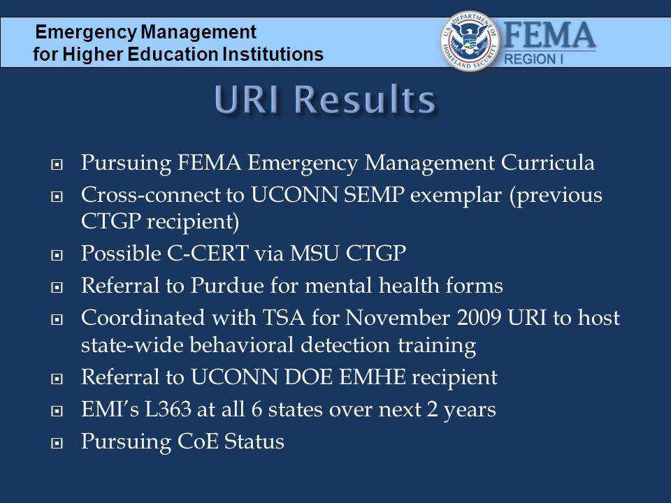 URI Results Pursuing FEMA Emergency Management Curricula
