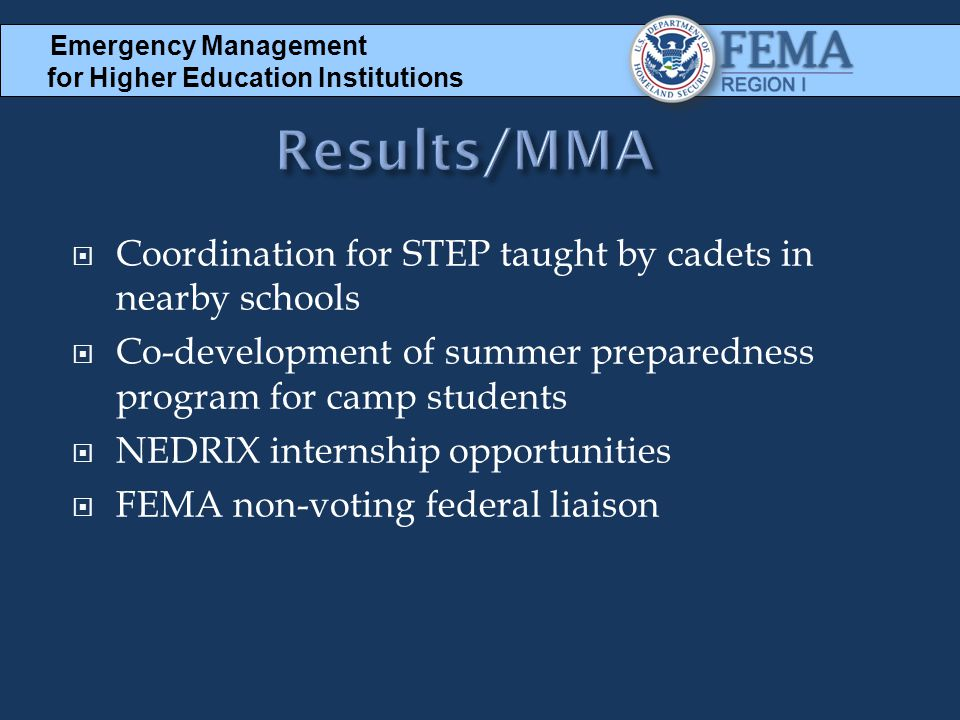 Results/MMA Coordination for STEP taught by cadets in nearby schools