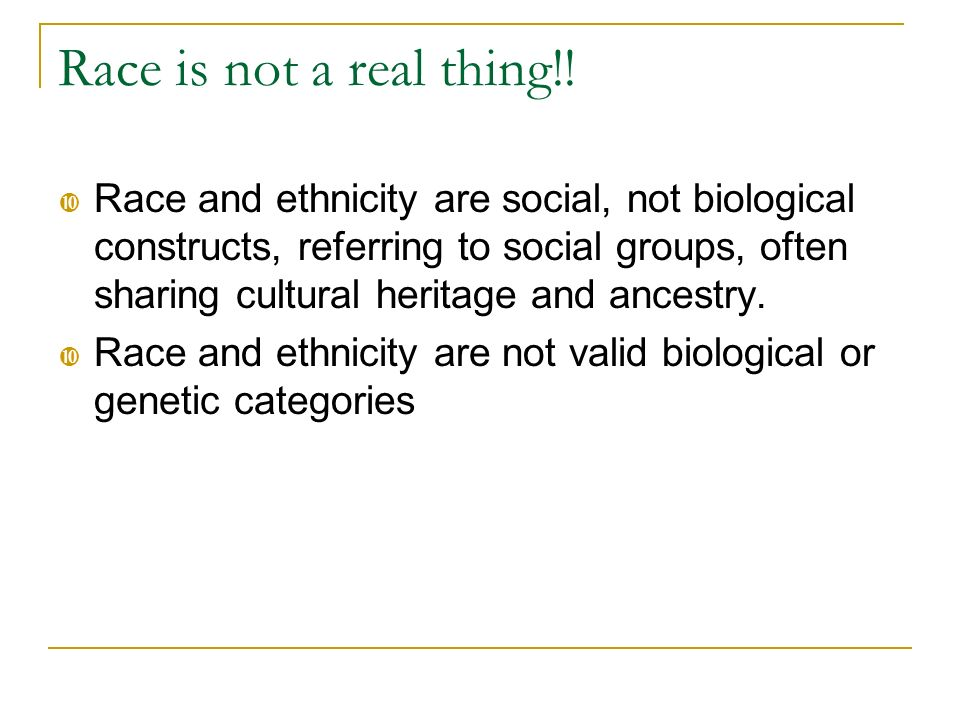 Race is not a real thing!!