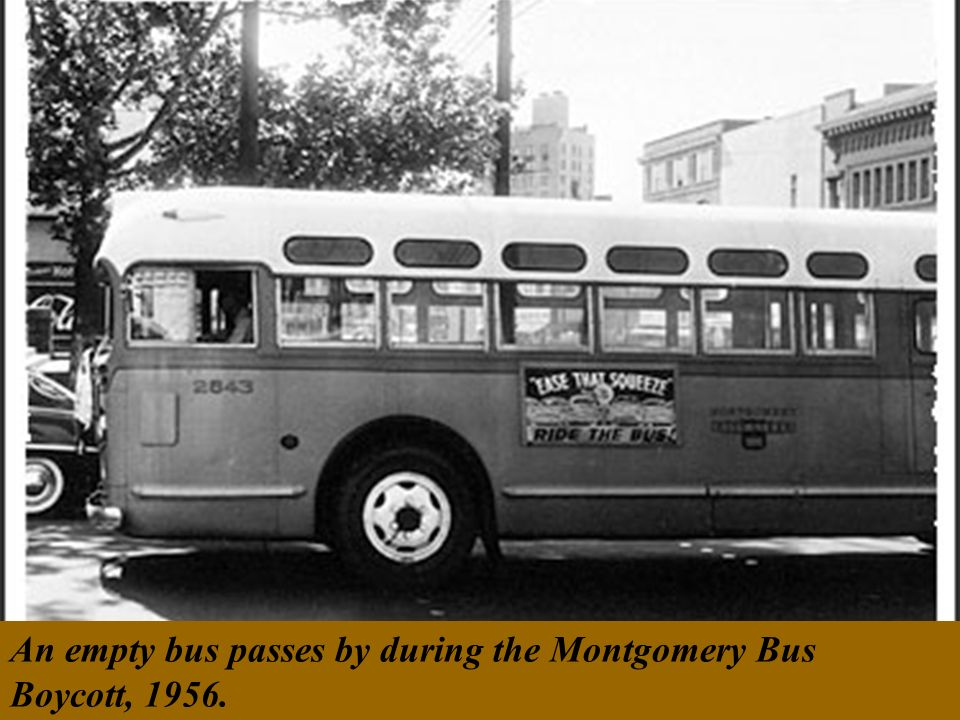 An empty bus passes by during the Montgomery Bus Boycott, 1956.