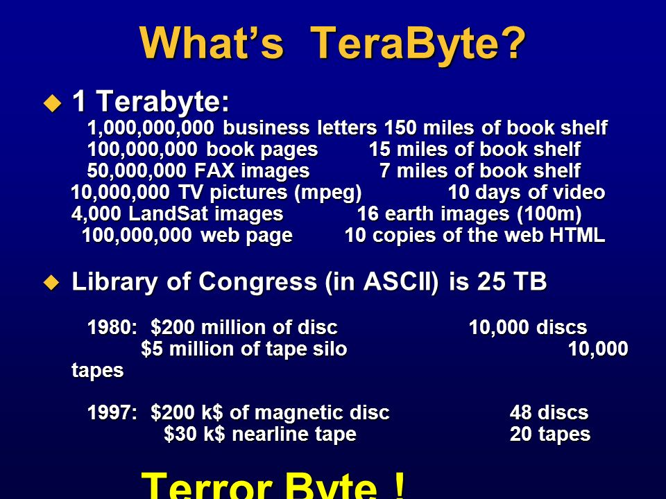 What's TeraByte 1 Terabyte: Library of Congress (in ASCII) is 25 TB