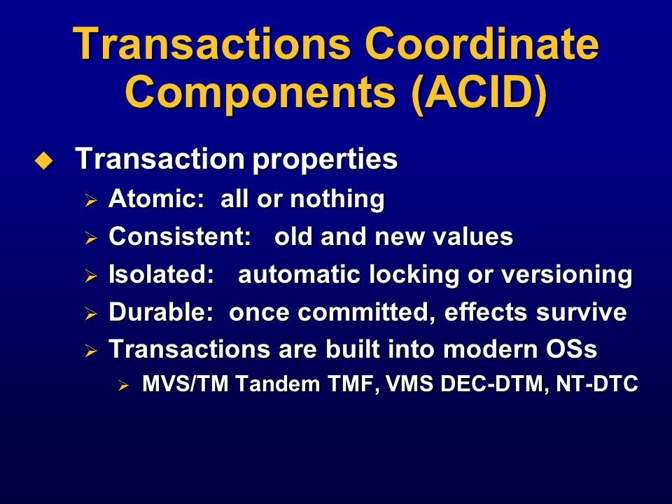 Transactions Coordinate Components (ACID)