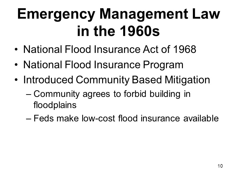 Emergency Management Law in the 1960s