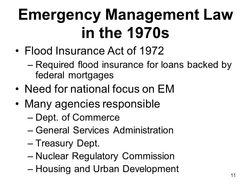 Emergency Management Law in the 1970s