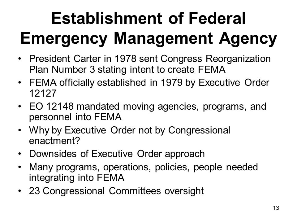Establishment of Federal Emergency Management Agency