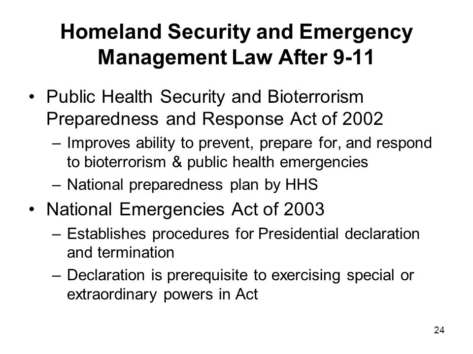 Homeland Security and Emergency Management Law After 9-11