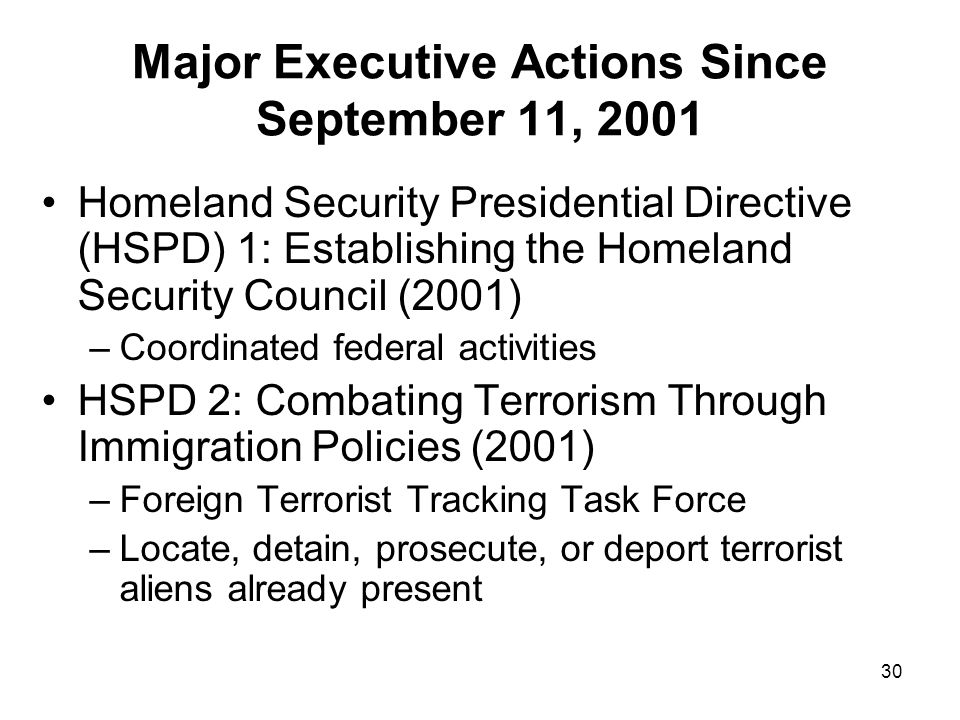 Major Executive Actions Since September 11, 2001