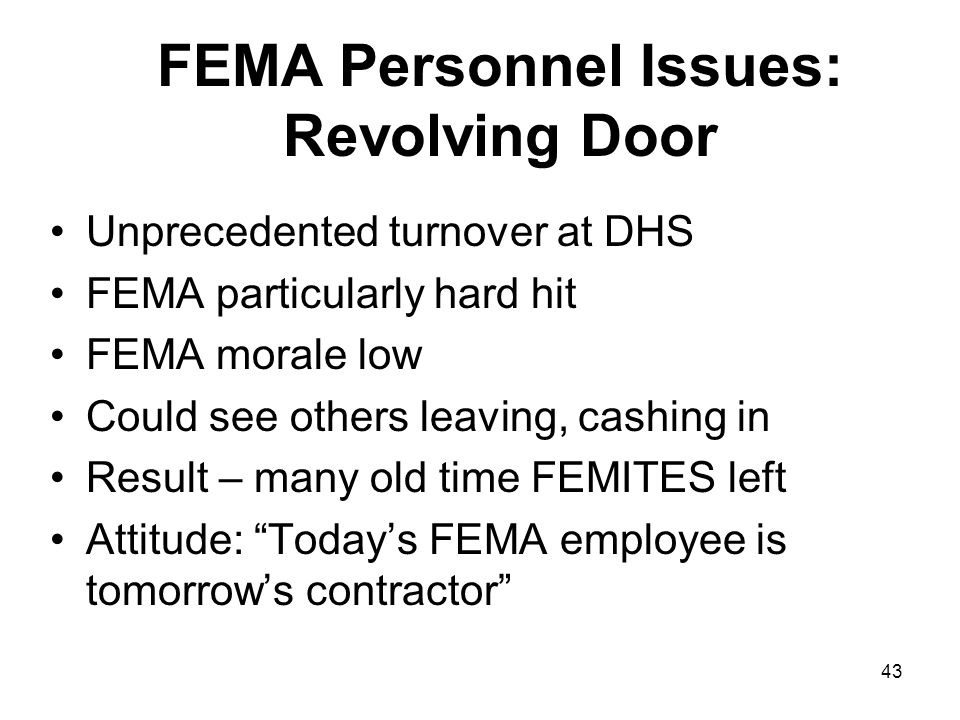 FEMA Personnel Issues: Revolving Door