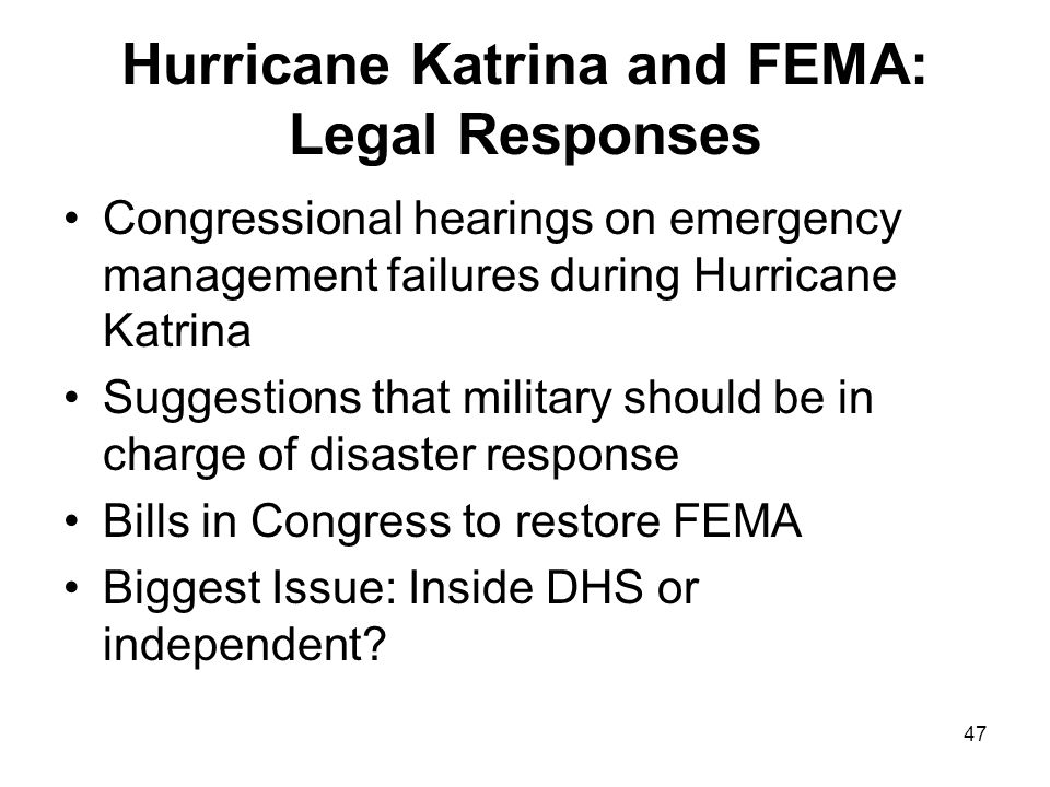 Hurricane Katrina and FEMA: Legal Responses