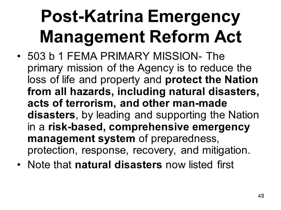Post-Katrina Emergency Management Reform Act