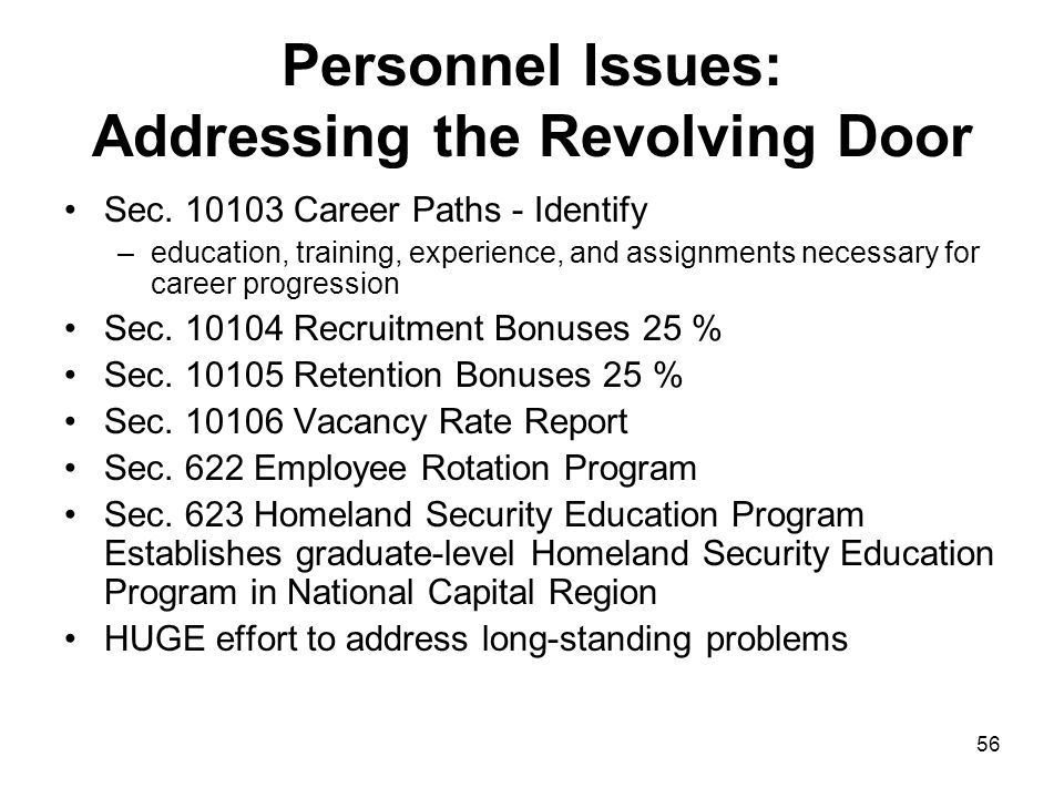 Personnel Issues: Addressing the Revolving Door