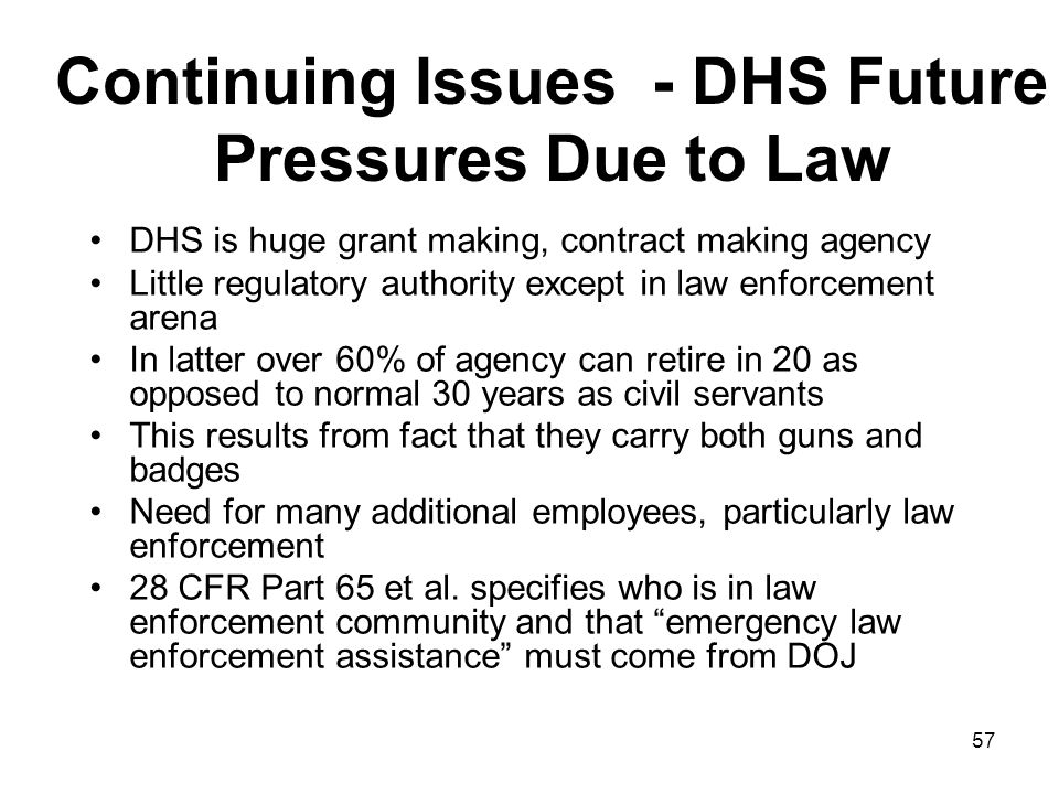 Continuing Issues - DHS Future Pressures Due to Law