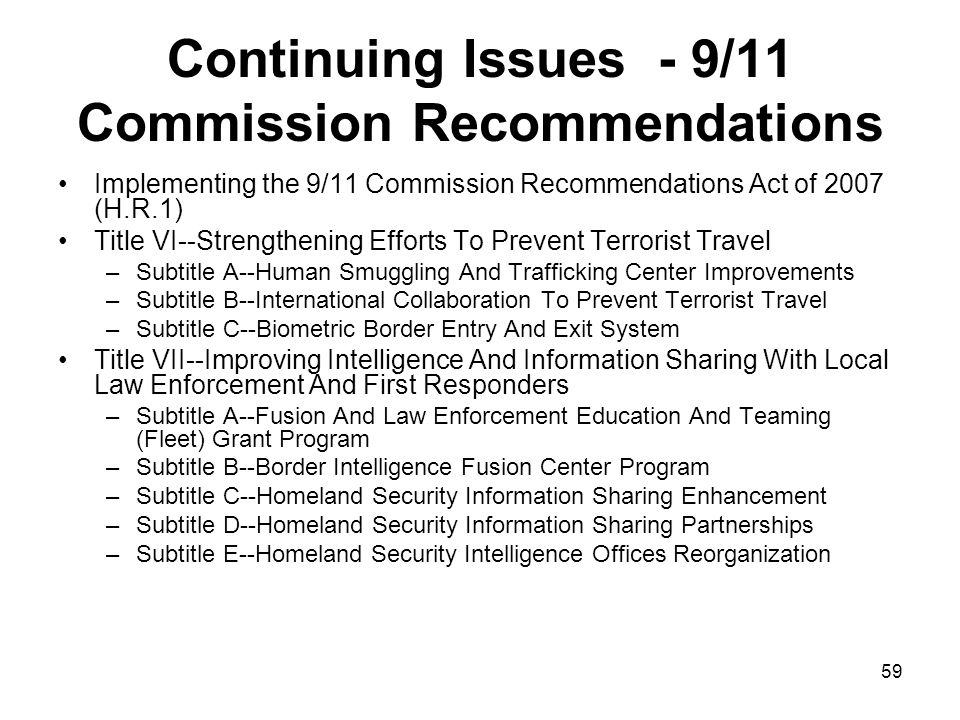 Continuing Issues - 9/11 Commission Recommendations