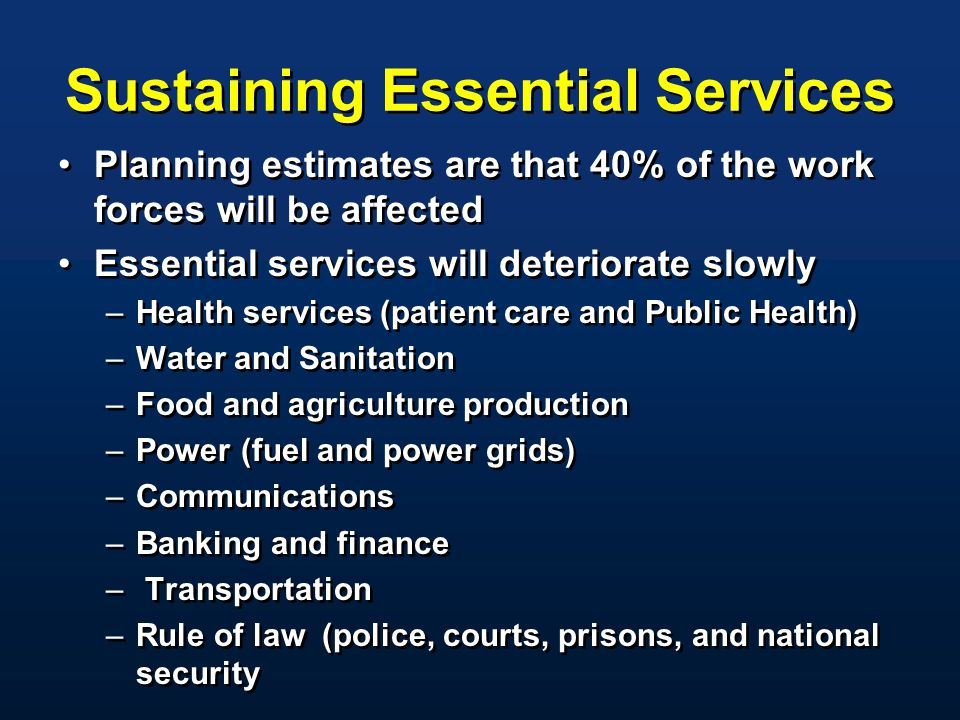 Sustaining Essential Services