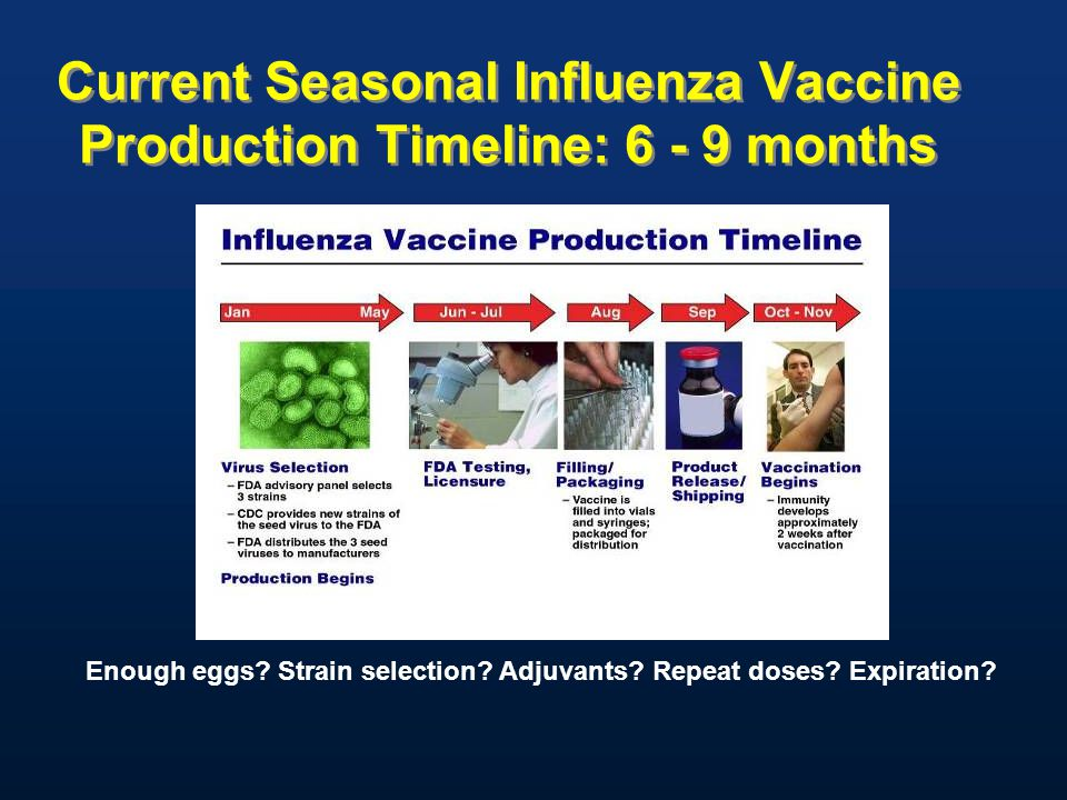 Current Seasonal Influenza Vaccine Production Timeline: 6 - 9 months