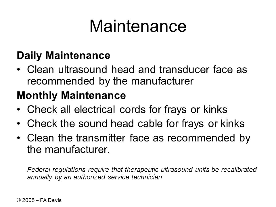 Maintenance Daily Maintenance