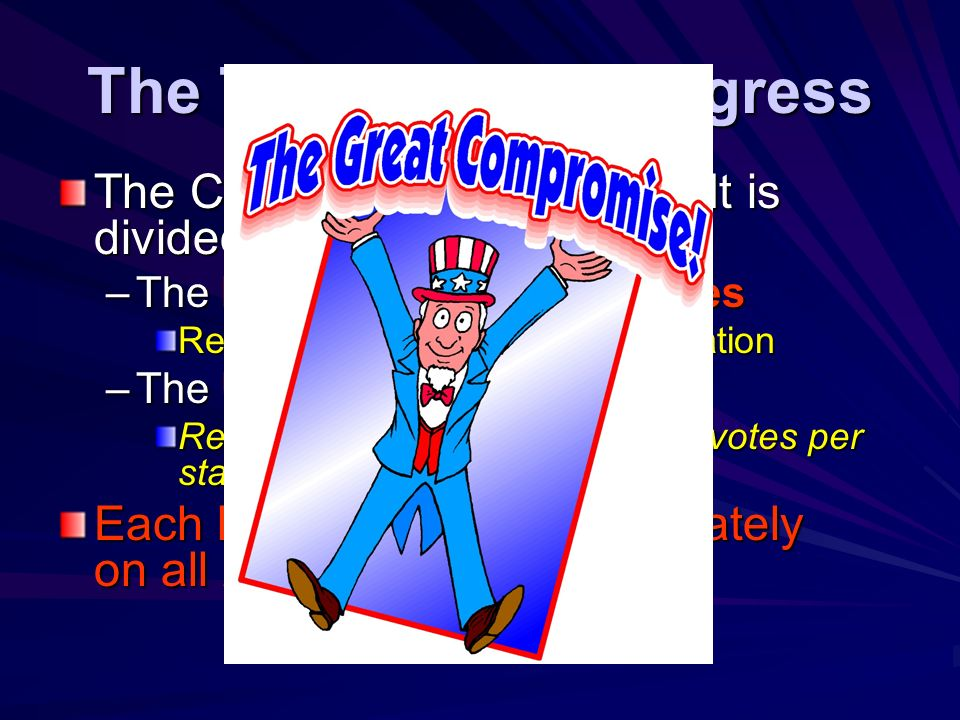 The Two House CongressThe Congress is bicameral. It is divided into two houses: The House of Representatives.