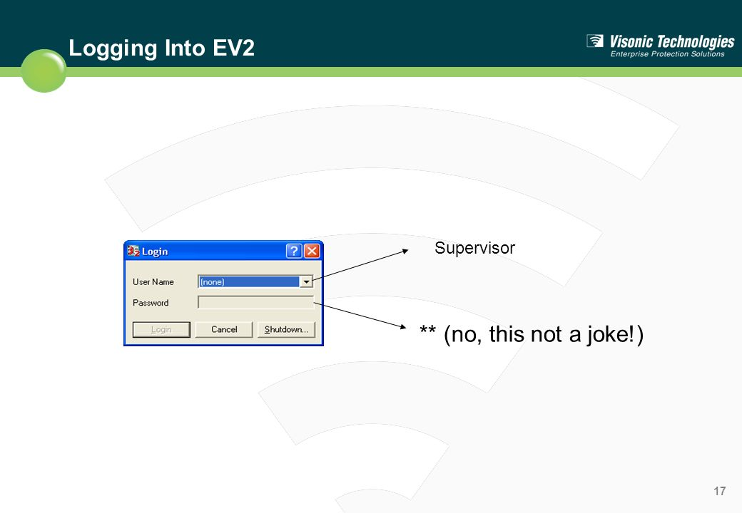 Logging Into EV2 Supervisor ** (no, this not a joke!)