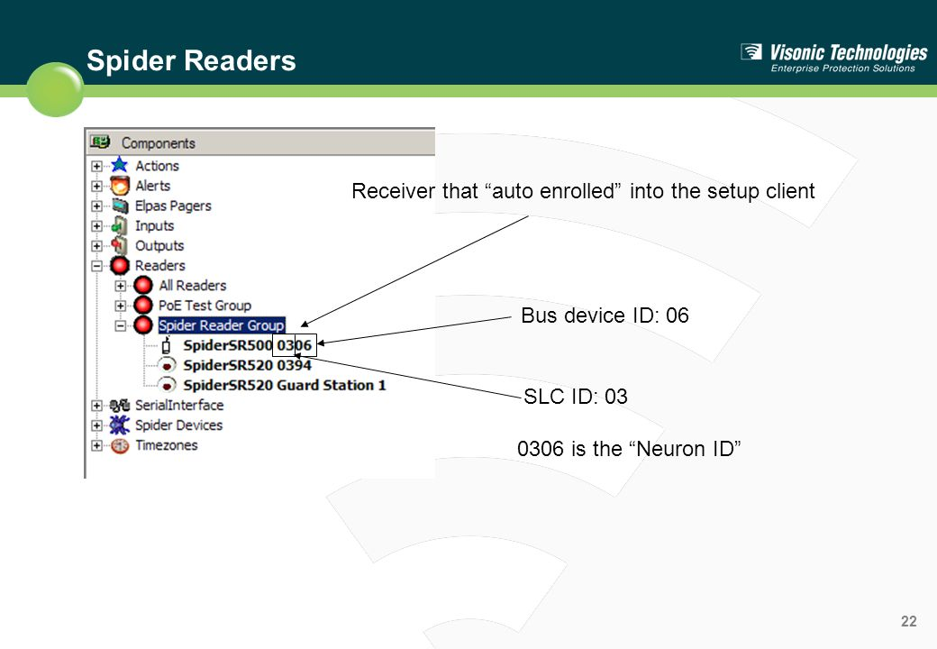 Spider Readers Receiver that auto enrolled into the setup client