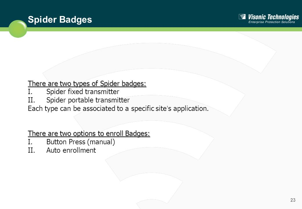 Spider Badges There are two types of Spider badges: