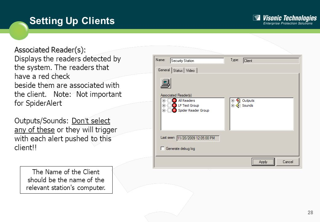 Setting Up Clients Associated Reader(s):