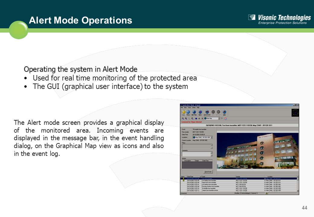 Alert Mode Operations Operating the system in Alert Mode