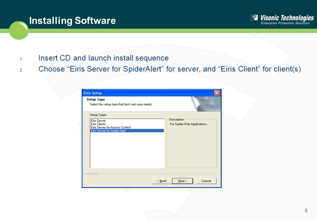 Installing Software Insert CD and launch install sequence