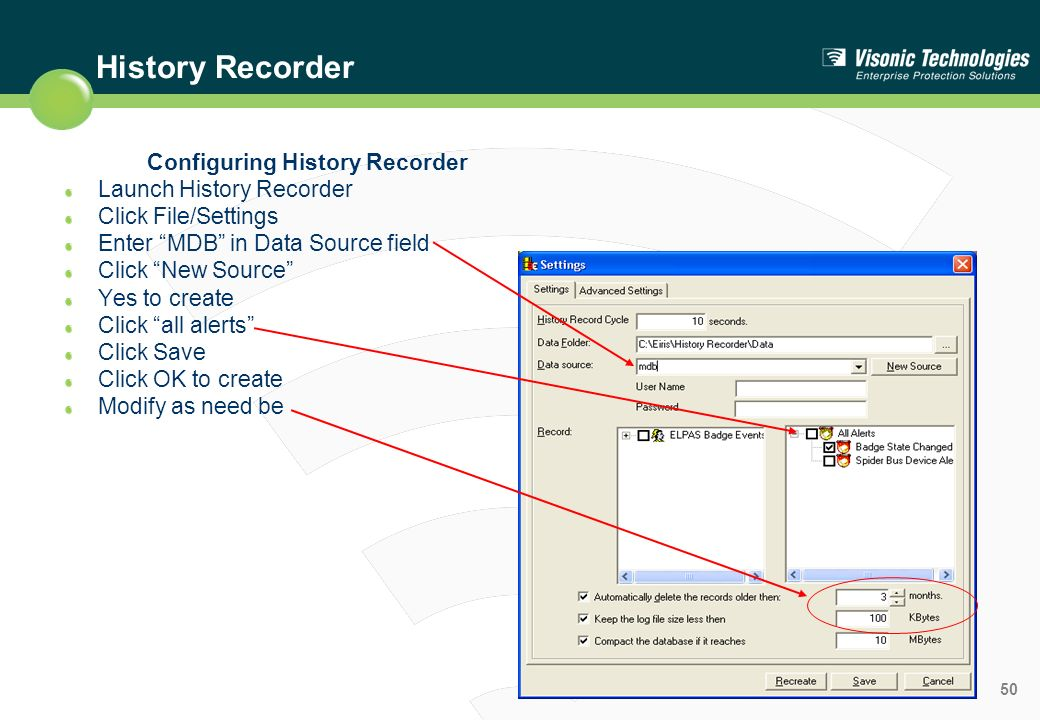 Configuring History Recorder