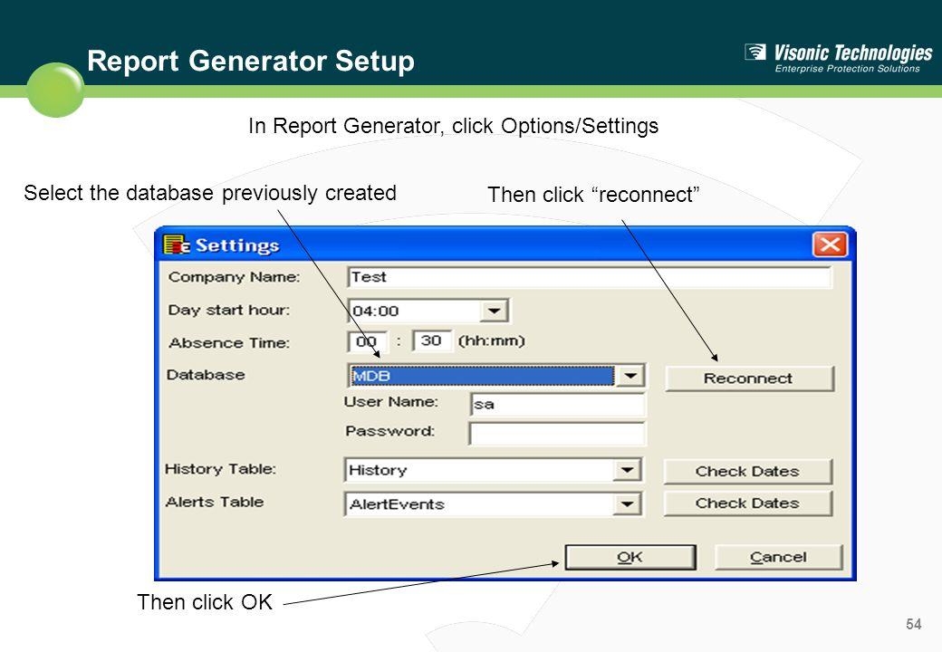 Report Generator Setup