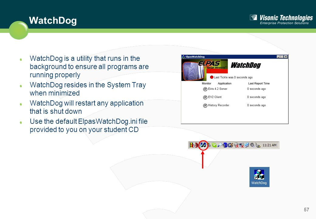 WatchDog WatchDog is a utility that runs in the background to ensure all programs are running properly.
