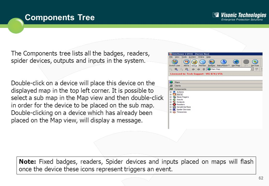 Components Tree The Components tree lists all the badges, readers, spider devices, outputs and inputs in the system.