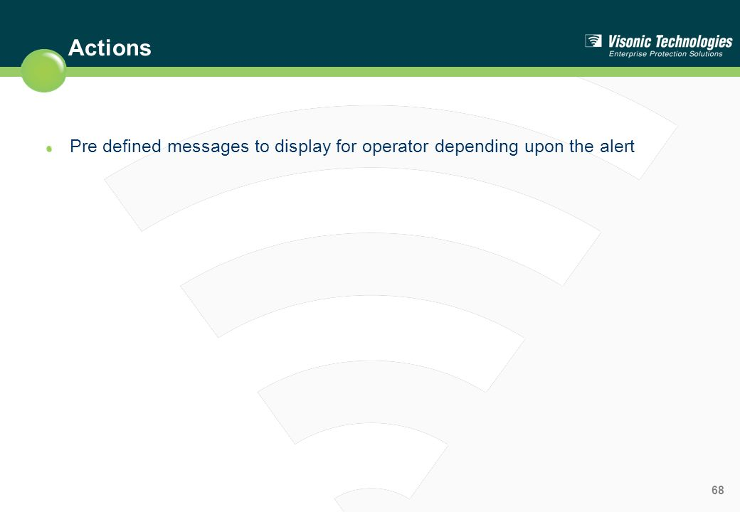 Actions Pre defined messages to display for operator depending upon the alert