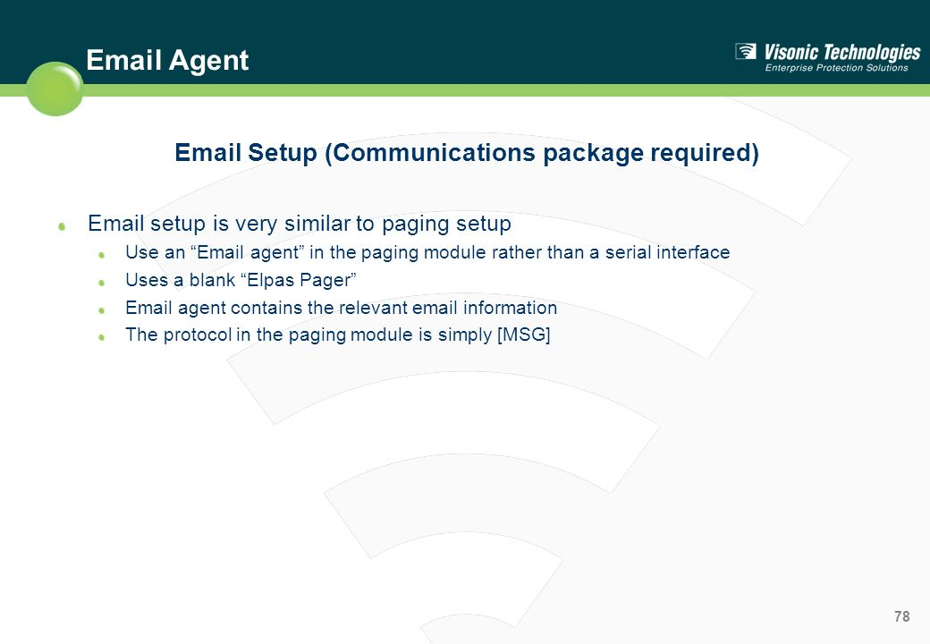 Email Setup (Communications package required)