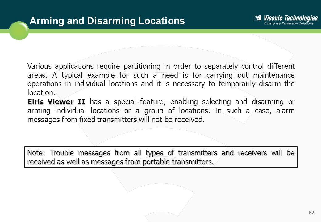 Arming and Disarming Locations
