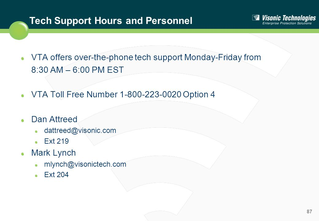 Tech Support Hours and Personnel