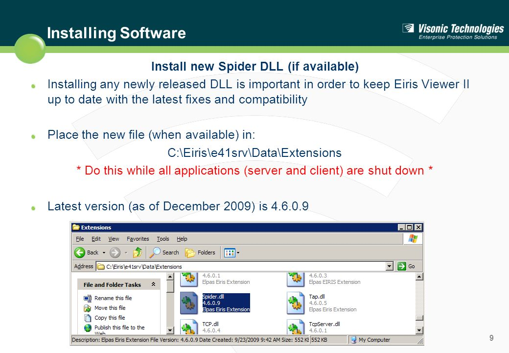 Install new Spider DLL (if available)