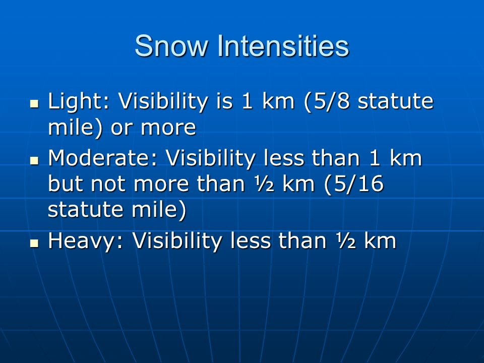 Snow Intensities Light: Visibility is 1 km (5/8 statute mile) or more