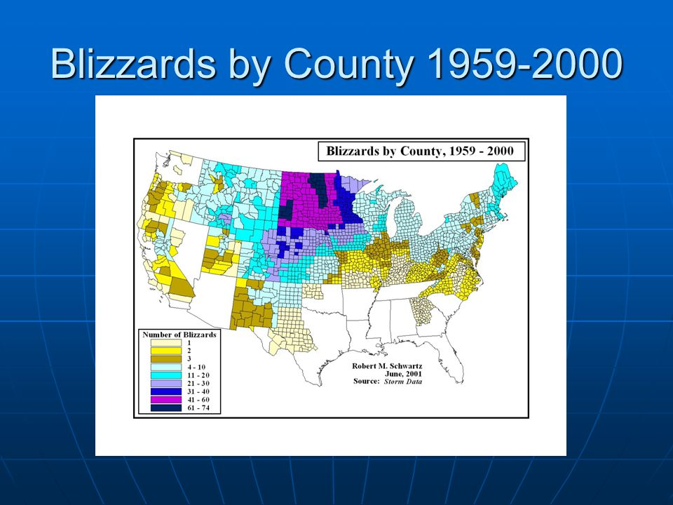 Blizzards by County 1959-2000