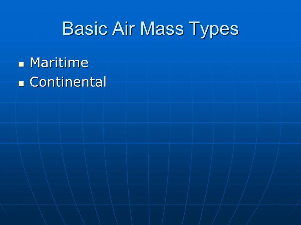 Basic Air Mass Types Maritime Continental