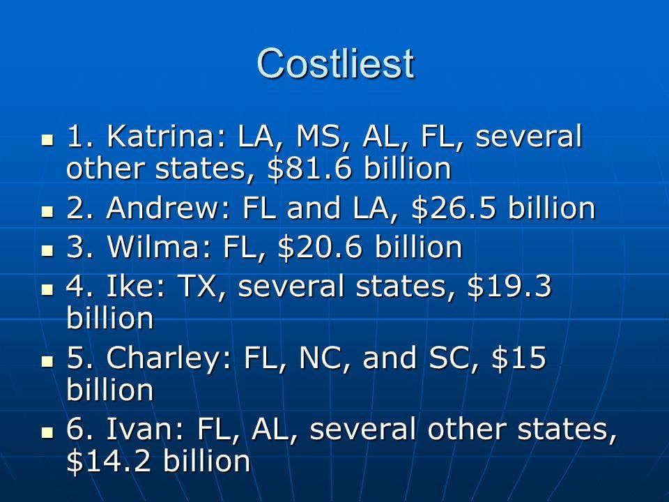 Costliest 1. Katrina: LA, MS, AL, FL, several other states, $81.6 billion. 2. Andrew: FL and LA, $26.5 billion.
