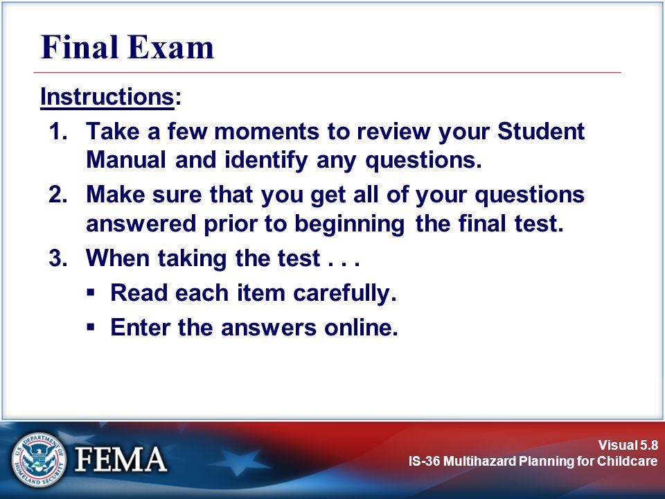 Final Exam Instructions:
