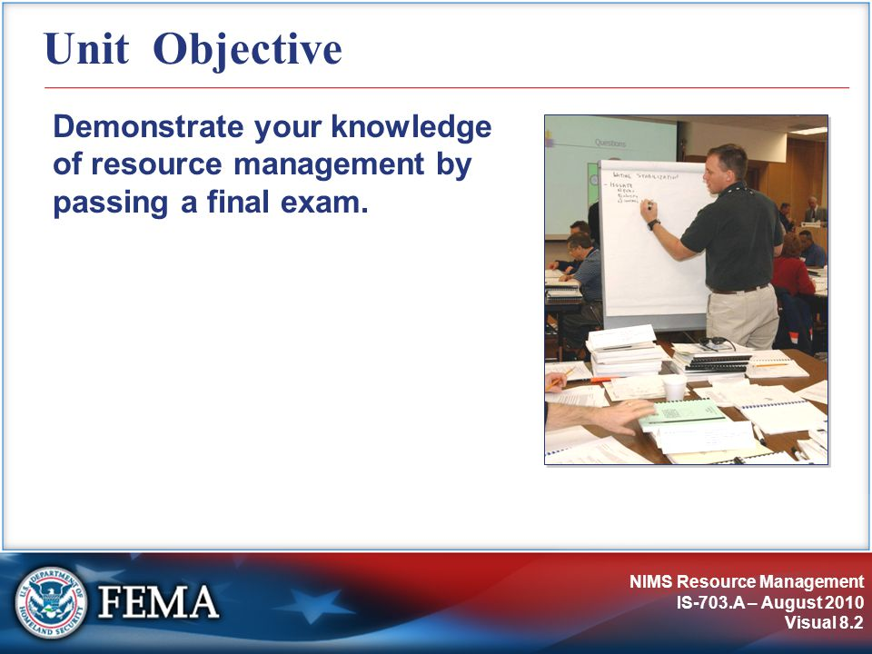 Unit Objective Demonstrate your knowledge of resource management by passing a final exam.