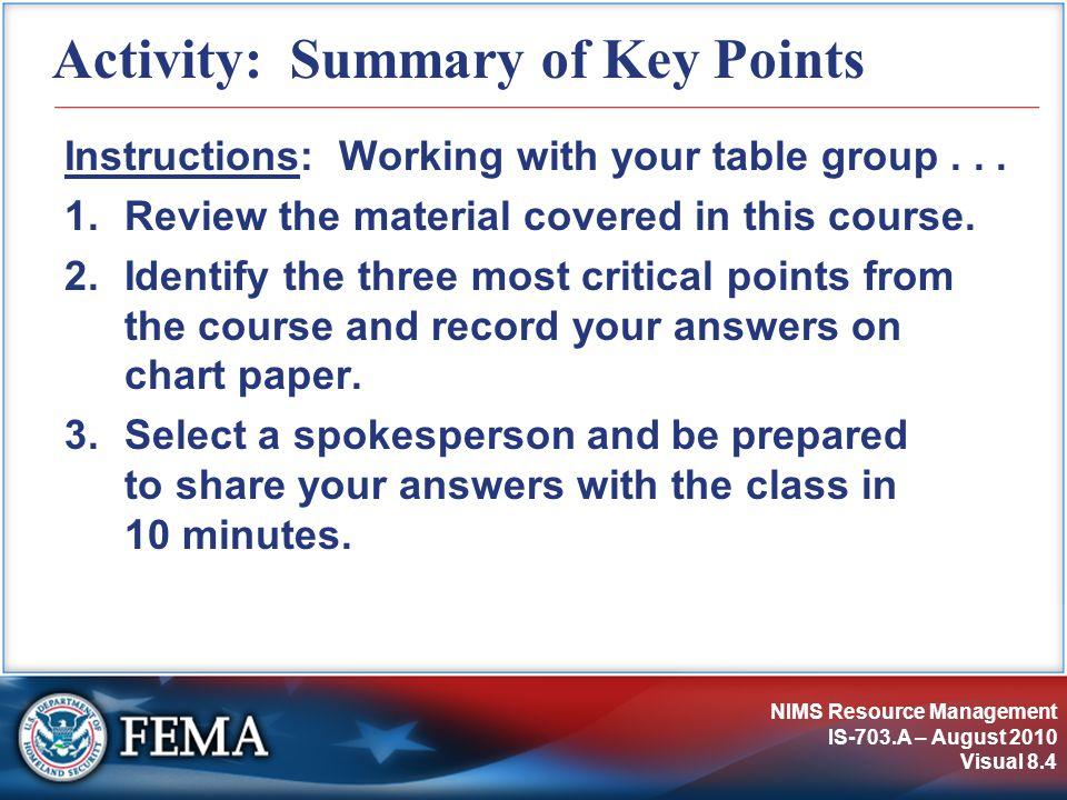 Activity: Summary of Key Points