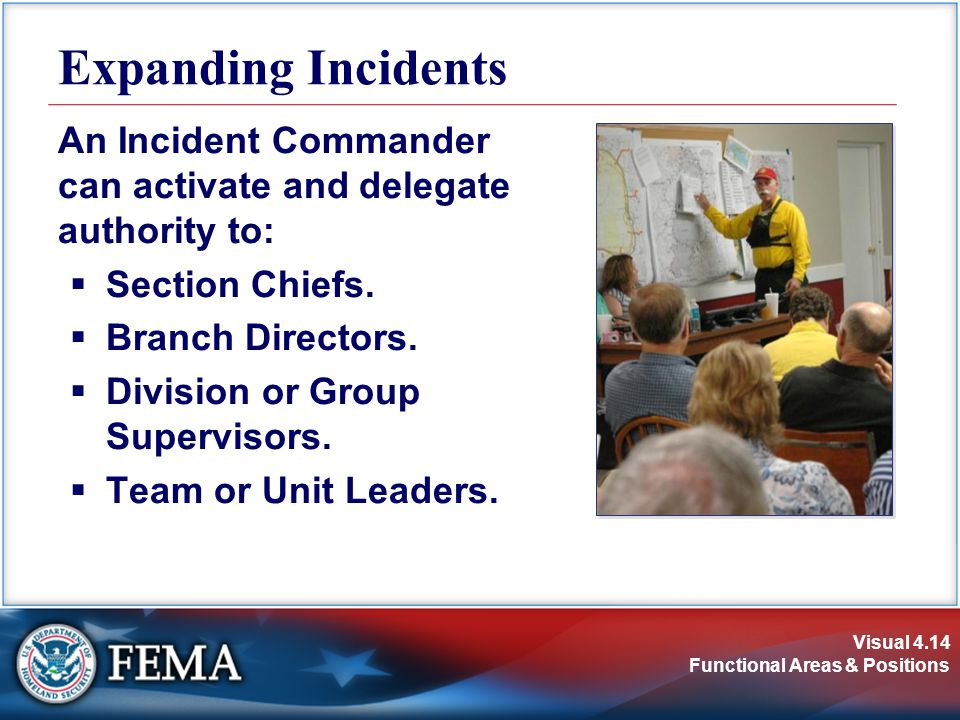 Expanding Incidents An Incident Commander can activate and delegate authority to: Section Chiefs. Branch Directors.