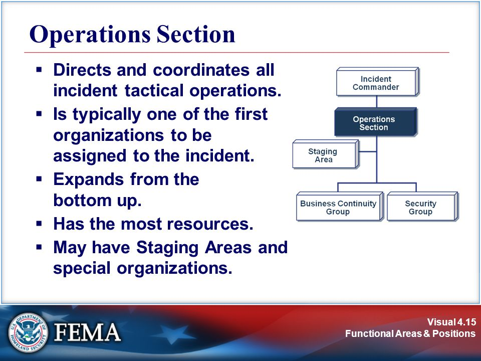 Operations Section Directs and coordinates all incident tactical operations.
