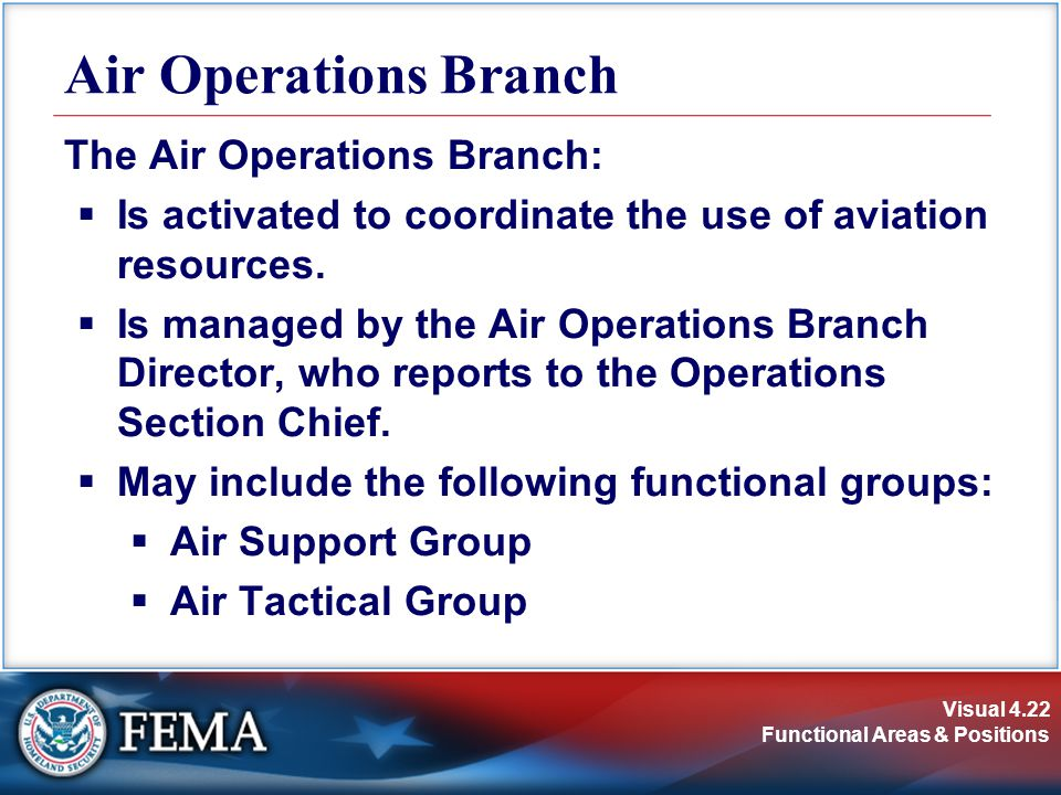Air Operations Branch The Air Operations Branch: