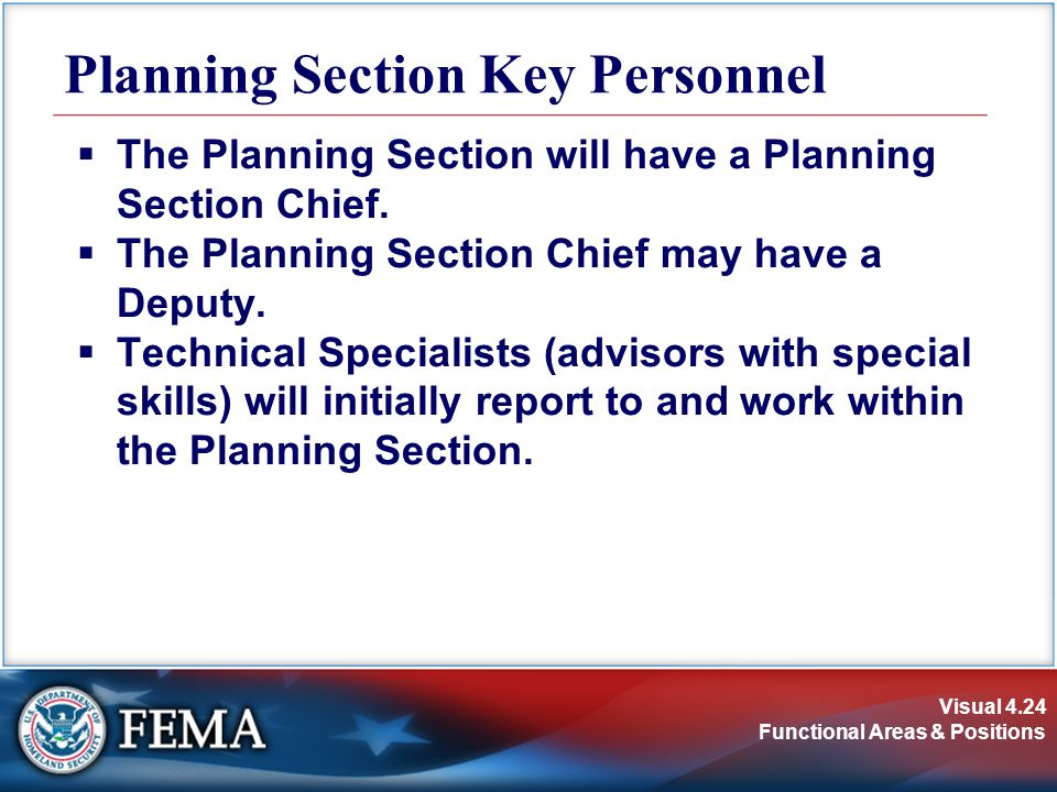 Planning Section Key Personnel